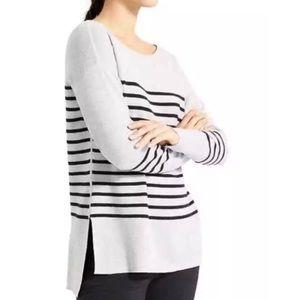 Athleta Striped Knit Sweater Gray Black Size XS